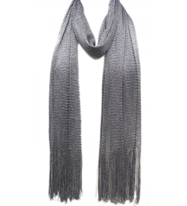 Metallic Mesh Scarf - Silver - CN113V7QYIX