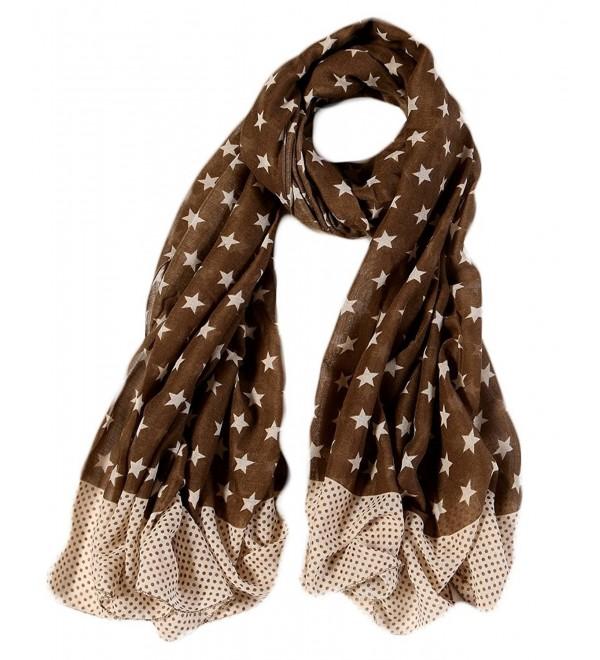 Ayli Women's Star Pattern Scarf Long Shawl Lightweight Fashion Wrap Various Colors - Coffee - C31875XGZGU