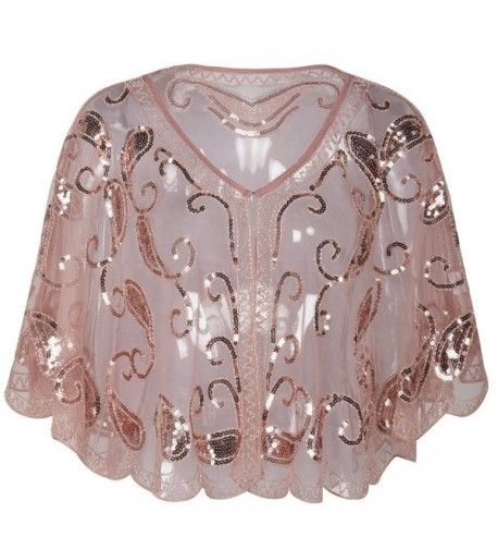 Kayamiya Women's Evening Shawl Wraps 1920s Sequin Beaded Cape Cover Up - Pink - CG180KD7MER