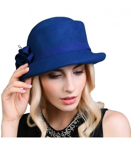 Maitose Women's Belt Flowers Wool Felt Bowler Hat - Royal Blue - C612MCI0HA1