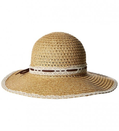 San Diego Hat Company Women's Floppy Sun Hat With Lace Trim - Natural - C6126AOQ955