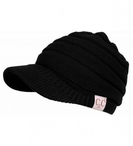 Funky Junque CC 365 All Season Brim BeanieTail Ponytail Messy Bun Beanie Cap Hat - Black - CG17YYRKZQH