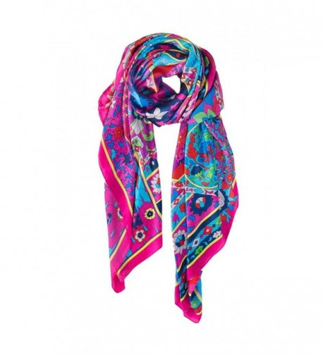 """Amymode Women's Scarf Flowers- Rose 51"""" x 51"""" Floral Print Oversized Scarf Large Square Shawl Pashmina Wrap - CT12NZF0BHD"""