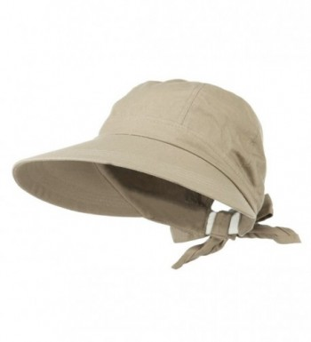 Womens Khaki Wide Brim Gardening Visor Sun Hat With Bow - CG11M2PB4S5