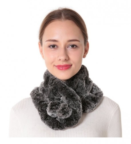 Nice Glory Women's Rex Rabbit Fur Neck Warmer and Scarf. - Grey Snow-top - CW185ZDGYGD