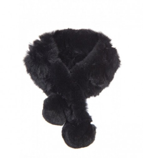 Alpina Rex Rabbit Fur Convertible Headband and Scarf - Black - CX111K473J3