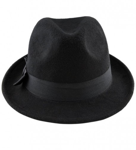 Samtree Fedora Hats for Women Men-Winter Roll-up Brim Trilby Woolen Jazz Cap - Black - CG188RY0H4C