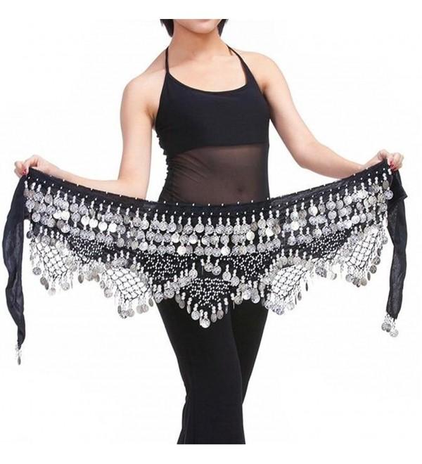 ZYZF Belly Dancing Dance Waist Chain Hip Triangle Scarf Skirt Belt - Black&silver - C212G4WAVKH