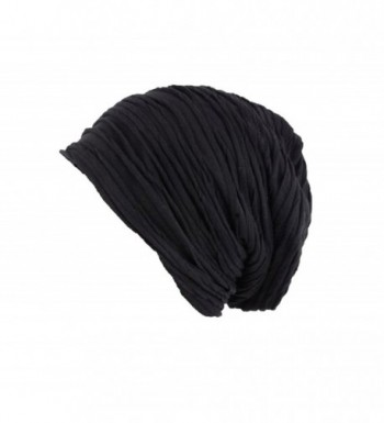 Absolutely Perfect Unisex Fashion Soft Hat Lightweight Wrinkled Cap Baggy Slouchy Beanie Headwear - A Black - CN12N85GMZB