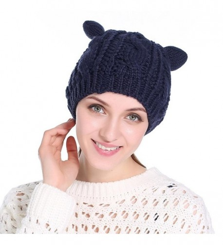 Connia Women Wool Knit Cap Cat Ear Hedging Head Hat Beanie Cap Warm Outdoor Fashion Hat - Navy - CG1895SYHZC