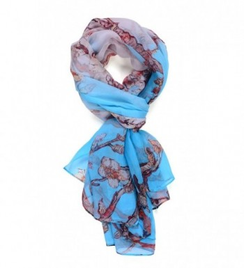 Salutto Women Luxurious Charmeuse 100% Silk Scarf Shawl Wrap Chinese Painting Style - 8peach Blossom - C612IHGMTQX