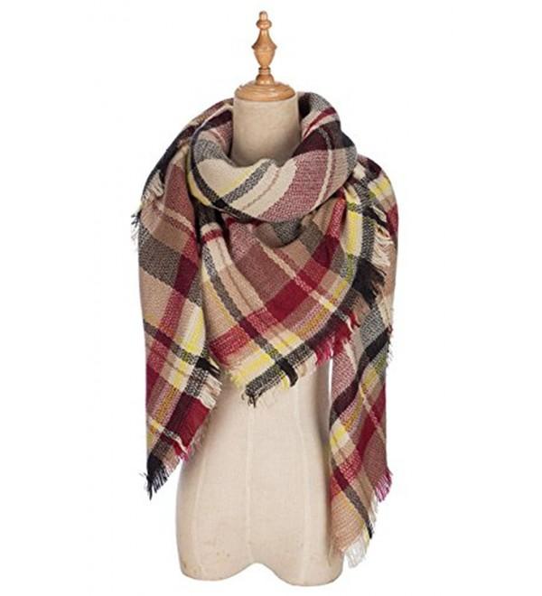 Plaid Blanket Tassels Soft Warm Scarf Large Gorgeous Wrap Shawl - Brown Red - CS186Z9YXIA