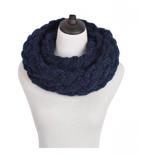 Premium Solid Winter Criss Cross Knit Thick Infinity Loop Circle Scarf - Navy Blue - CC12MMBIVMF