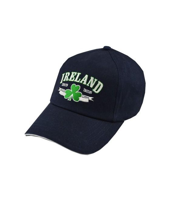 Carrolls Irish Gifts Baseball Cap With Embroidered Ireland Limited Edition Print and Shamrock- Navy - CC11ZF0O2UV