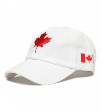 Canada Dad Hat Canadian Maple Leaf Cap Flag Embroidered Unisex Adult - White - CD1836H9Q5M