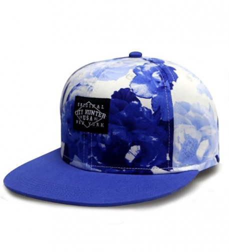 City Hunter Cf2121 Water Flower Snapback Cap - Royal - C711YXNXT6T