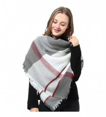 Blanket Scarf for Women Square Plaid Scarf Womens Winter Tartan Scarf Wrap Shawl - A Gray - CD12O5369RE