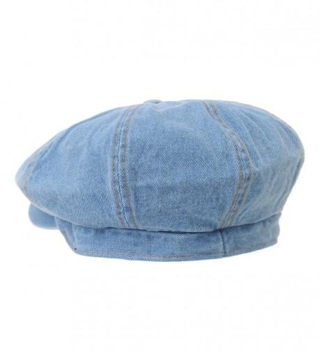f60b5b6f23284 Denim Cotton newsboy Hat Baker Boy Beret Flat Cap KR3613 LightBlue  CE17Y0Y8RCZ