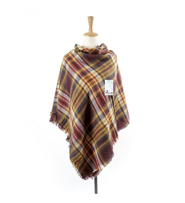 Women's Cozy Tartan Scarf Wrap Shawl Neck Stole Warm Plaid Checked Pashmina - Brown - CW186ECOIUC