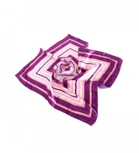 Elegant Silk Feel Wave & Square Design Satin Square Scarf - Different Colors Avail. - Purple Square - CJ11E6R59IX