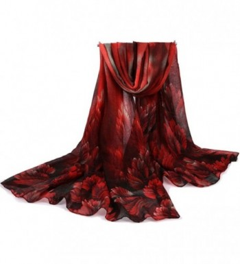 Nightycatty Women's Sunshade Shawl Voile Wrap Flower Print Scarves(Extra Large) - Dark Red - CB182LWN0GR