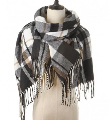Women Plaid Blanket Cashmere Scarf Long Large Warm Tartan Scarves Wrap Shawl - Black-White - CY187R0MTYG