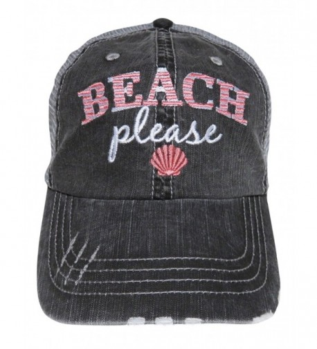 "Embroidered ""Beach Please"" Distressed Look Grey Trucker Cap Hat - Coral - CW1825I2A5H"