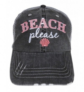 """Embroidered """"Beach Please"""" Distressed Look Grey Trucker Cap Hat - Coral - CW1825I2A5H"""