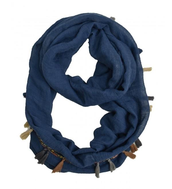 Modadorn Spring Multi Color Chevron Infinity Scarf - Tonedown Solid W/Tassels BLUE - CJ12FA41D3T