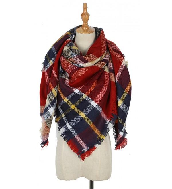 Warm women Tartan Scarf winter Blanket Shawl - Small Red Lattice - C2187ZLE9Y2