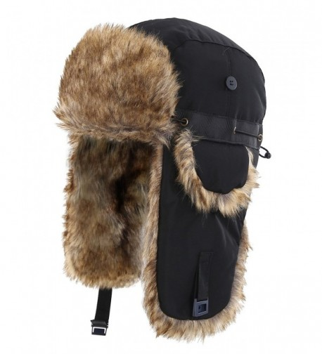 Home Prefer Mens Winter Faux Fur Trapper Hat Windproof Hunting Hat With Earflaps - Blkgw2 - CH187X0H4X0