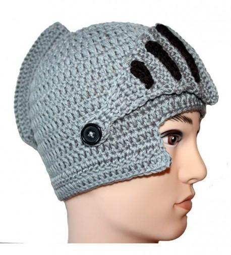 Amigo - Unisex Roman Knight Helmet Hat Knit Beanie Hat Cap Wind Mask- Gray - CO120MIDZPN