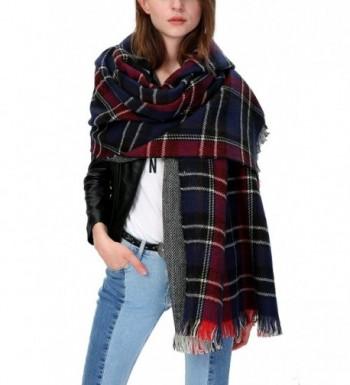 Urban CoCo Women's Tartan Plaid Blanket Scarf Winter Checked Wrap Shawl - Series 2 Navy - C7129ZAMQQR