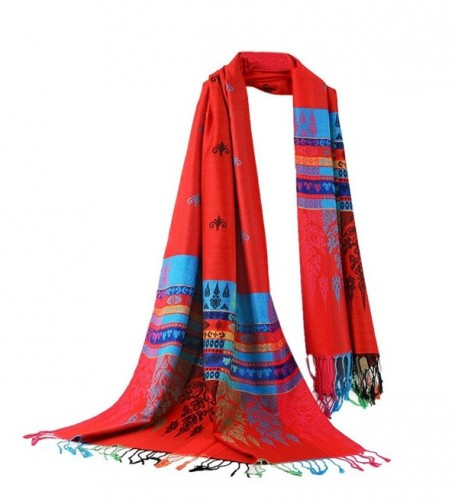 DEESEE(TM) Hot Lady Women Double Sided Little Bee National Wind Scarf Wrap Shawl - Red - CC12MYVLXTE