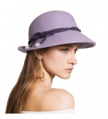 Janetshats Womens Vintage Wool Felt Cloche Bucket Hat Bowler Winter Crush Hat - Purple - C2186DAK094