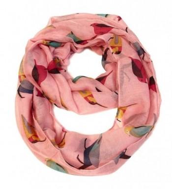Bird Print Infinity Scarf - Pink - Pink - CJ187H7KY09