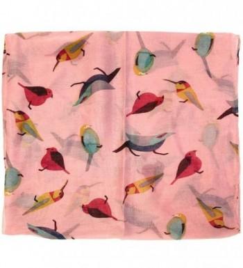 Bird Print Infinity Scarf Pink