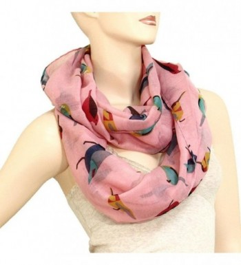 Bird Print Infinity Scarf Pink in Fashion Scarves
