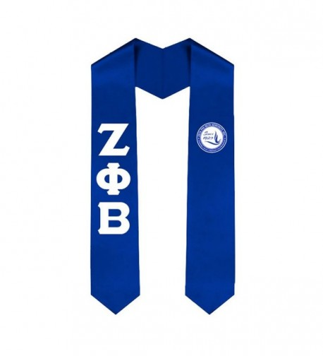 Zeta Phi Beta Greek Lettered Graduation Sash Stole - Royal Blue - C9182EGUNSR