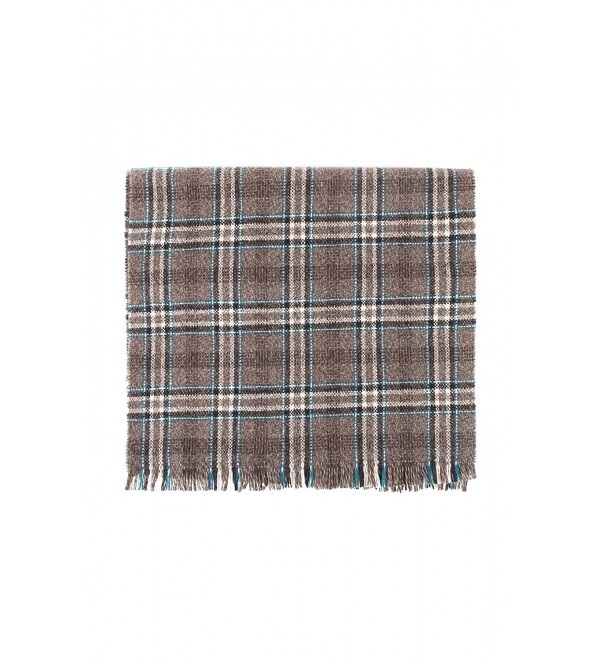Great & British Knitwear 100% Cashmere Brown & Teal Check Scarf. Made in Scotland - CH126SK7IWP