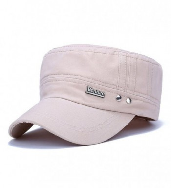 ChezAbbey Solid Brim Flat Top Cap Army Cadet Style Military Ripped Hat Peaked Cap - Beige - CF17YHWYKYW