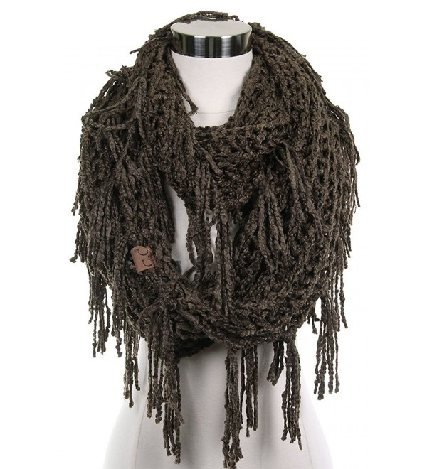 ScarvesMe CC Knitted Double Loop Circle Infinity Scarf with Fringe - New Olive - C6186W9CIIA