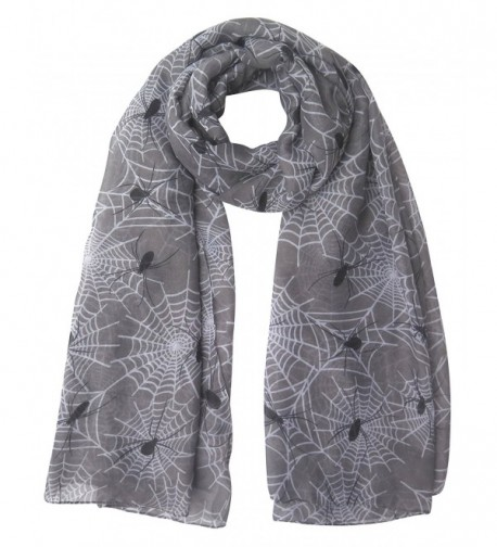 Lina & Lily Halloween Spider and Web Print Women's Large Scarf - Grey - C2128A5IIND