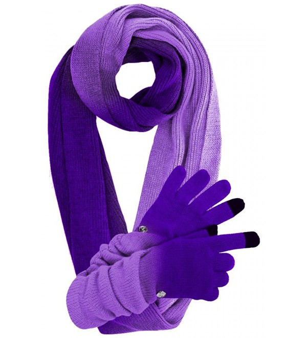 Knit Ombre Texting Gloves & Scarf Set - Purple - C0125BTO3L3