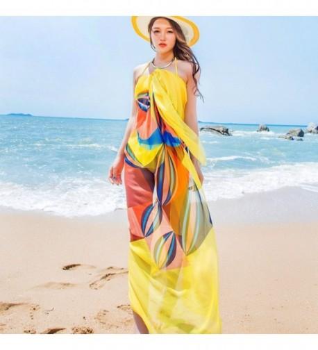 "Sexy Women Chiffon Beach Swimwear Sarong Wrap Dress Bikini Cover Up Scarf (Yellow) - "" Yellow "" - C017YIGUY46"