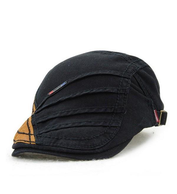 Women's Novelty Summer Cotton Beret Newsboy Visor Cap Hat - Black - CH183QA28TD