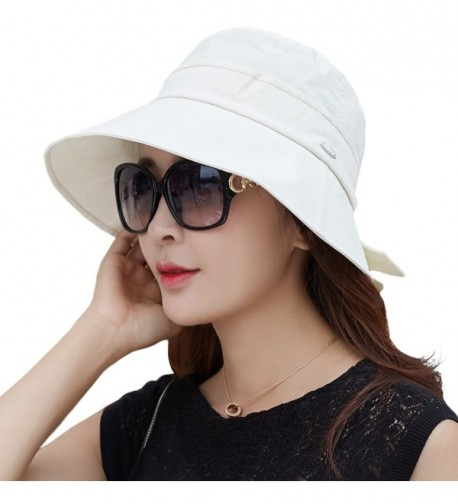 SIGGI Womens UPF50+ Summer Sunhat Bucket Packable Wide Brim Hats w/Chin Cord - 89055_beige - C9183IDL6ZR