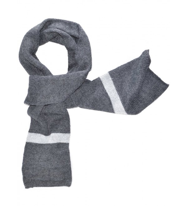 Gamboa - 100% Alpaca Scarf - Grey with Light Grey Stripes - Gray - CY1266OLD01
