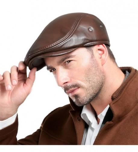 Vemolla Cowhide Leather Hunting Trucker in Men's Newsboy Caps