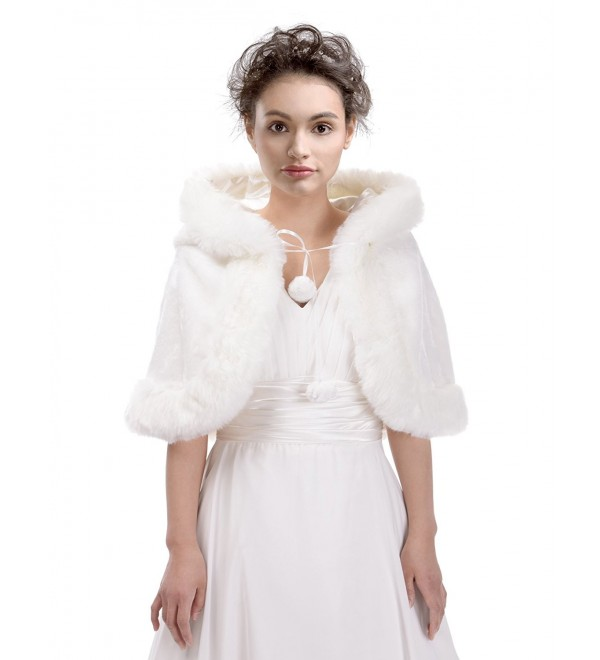 Remedios Ivory Faux Fur Birdal Wedding Hooded Cape Evening Party Wrap Poncho w Hat - CO129H8AKV5